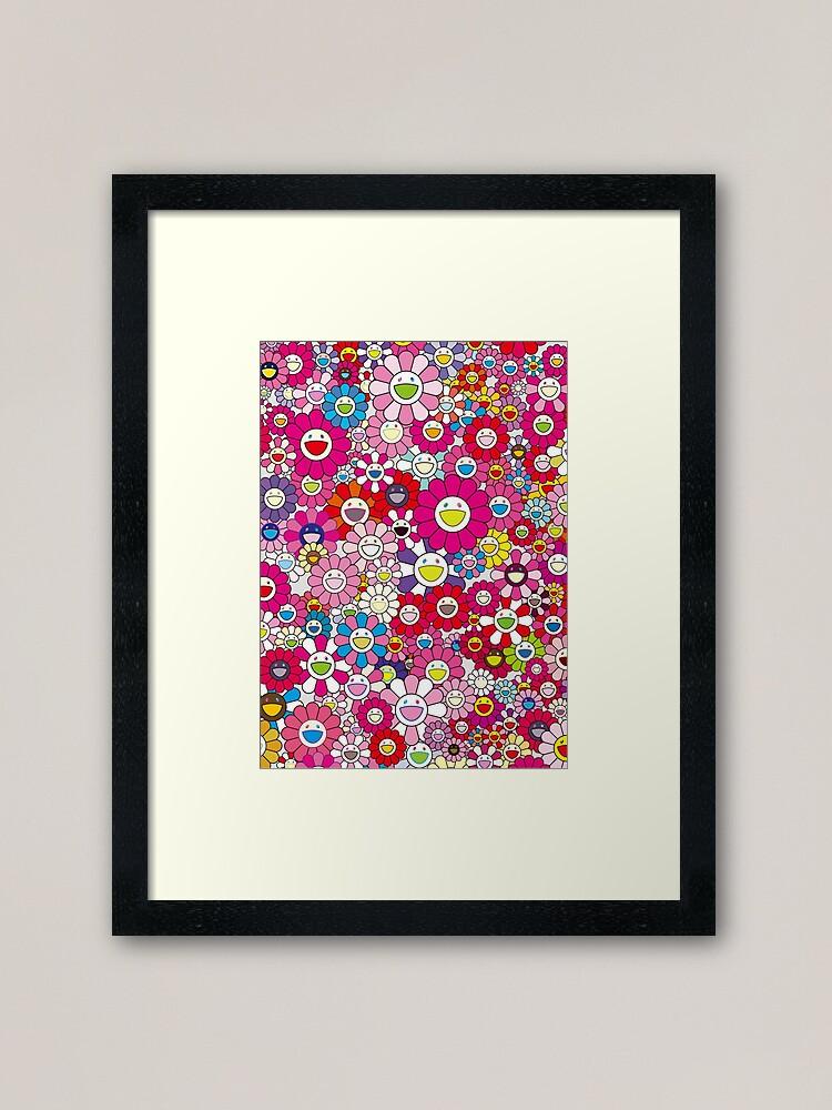 TAKASHI MURAKAMI Flowers Blue /& Pink Canvas Print Poster FRAMED