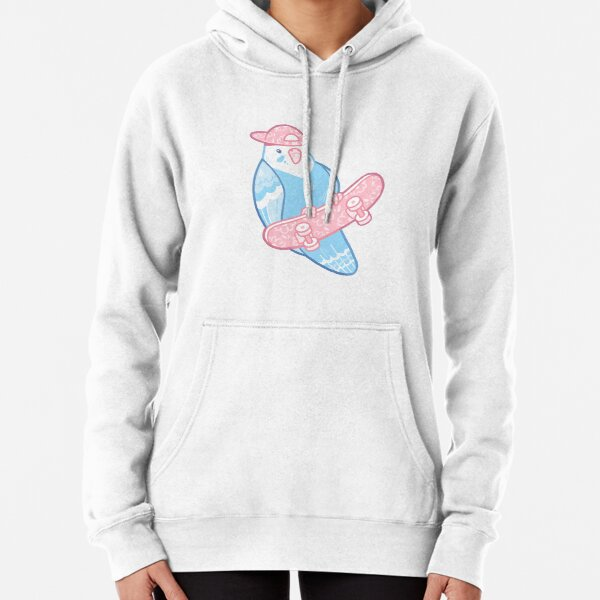 Pink and Blue Coo Bird Pullover Hoodie