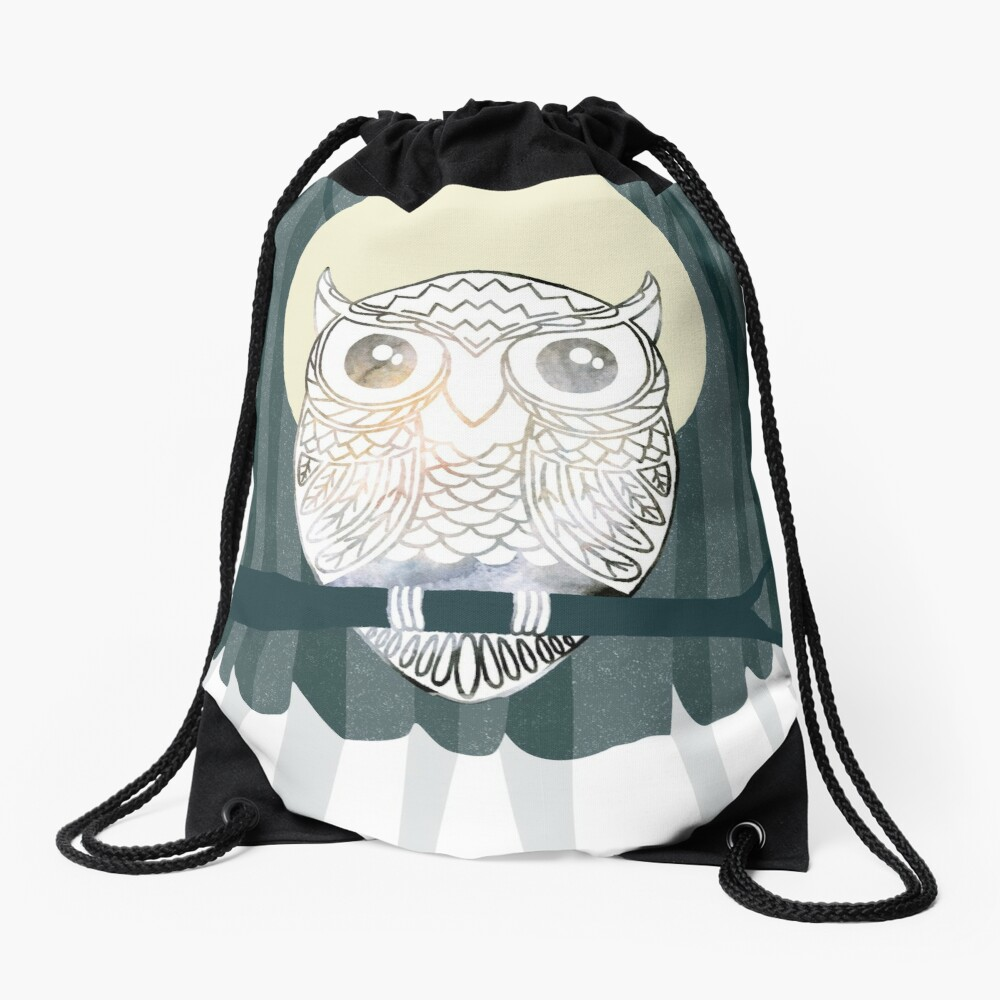 Owl is Calm Drawstring Bag
