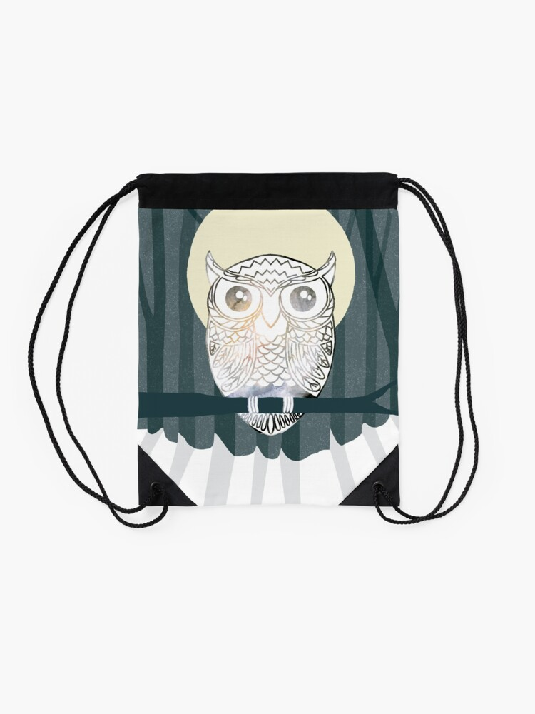 Alternate view of Owl is Calm Drawstring Bag