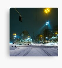 snow fall night scene Canvas Print