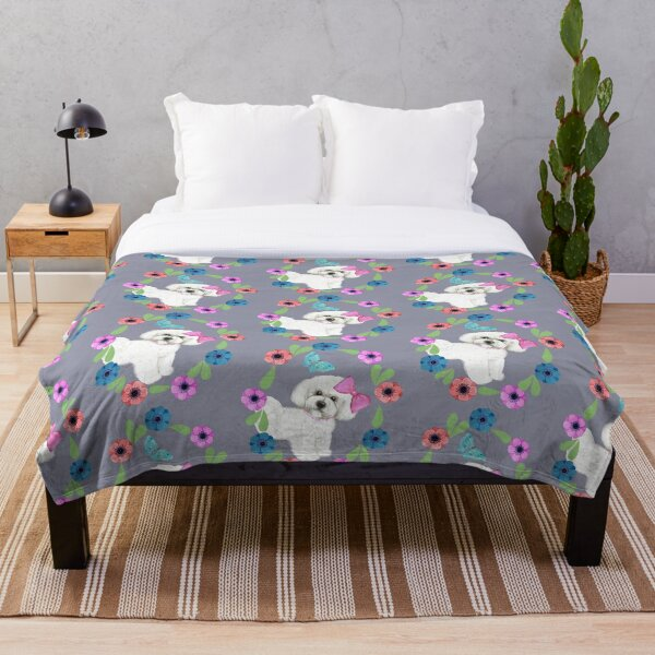 Bichon Frise and Butterflies Throw Blanket