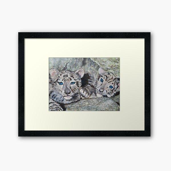 Snow Leopard Cubs Framed Art Print