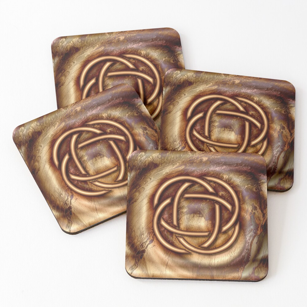 Knot Of Four: Bronze Celtic Knot Coasters (Set of 4)