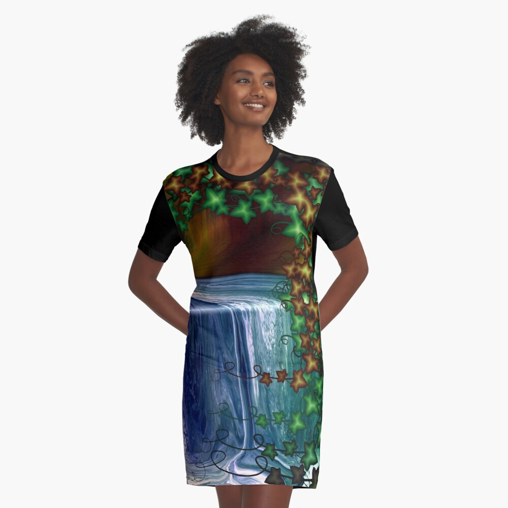 Forest Waterfall Graphic T-Shirt Dress