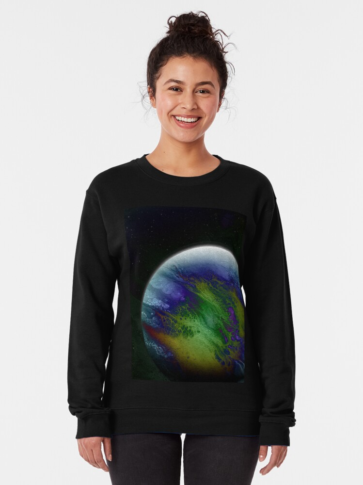 Alternate view of Planet Beta: Outer Space Planet Art Pullover Sweatshirt