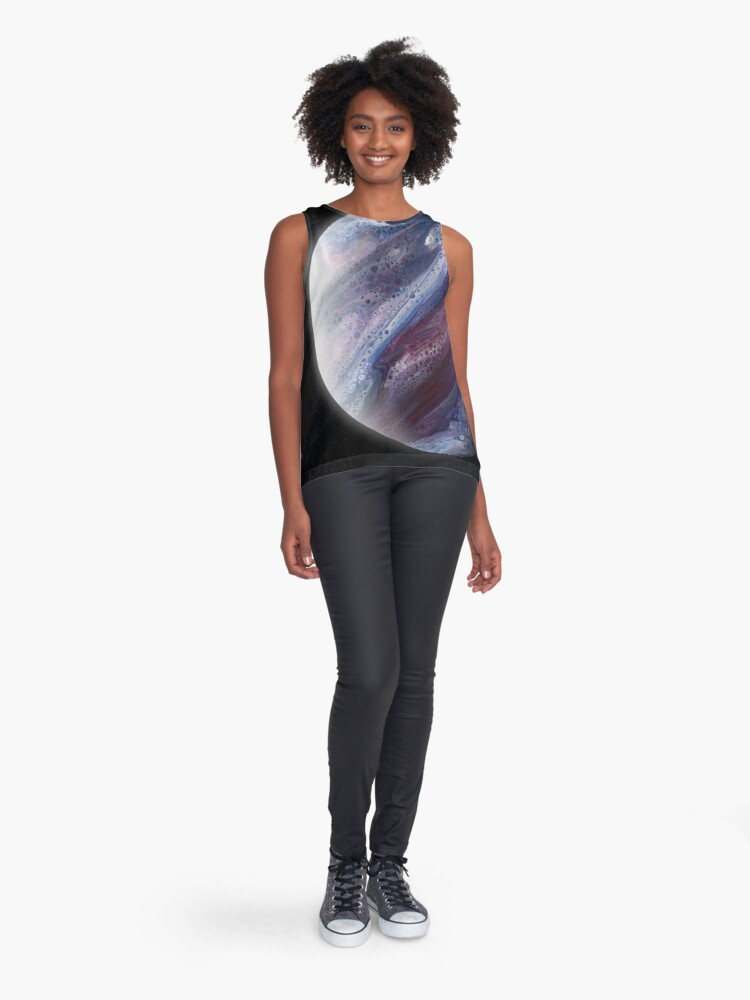 Alternate view of Planet Epsilon: Outer Space Art Sleeveless Top