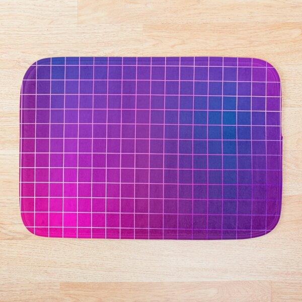 Pink Purple Blue Ombre Squares Bath Mat