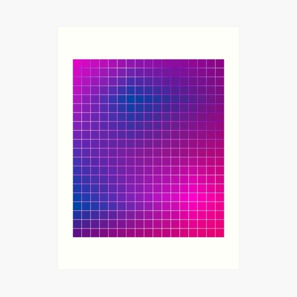 Pink Purple Blue Ombre Squares Art Print