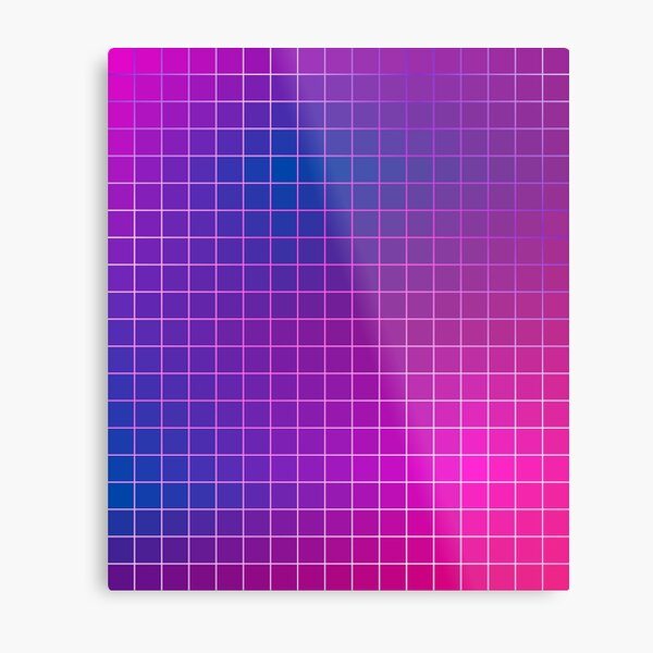 Pink Purple Blue Ombre Squares Metal Print