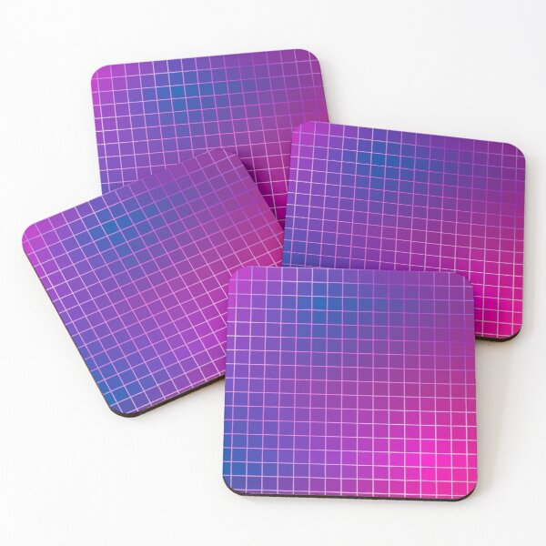 Pink Purple Blue Ombre Squares Coasters (Set of 4)