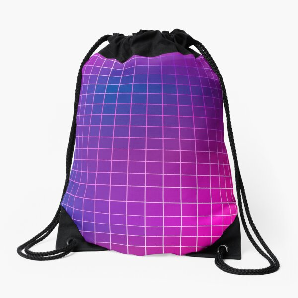 Pink Purple Blue Ombre Squares Drawstring Bag