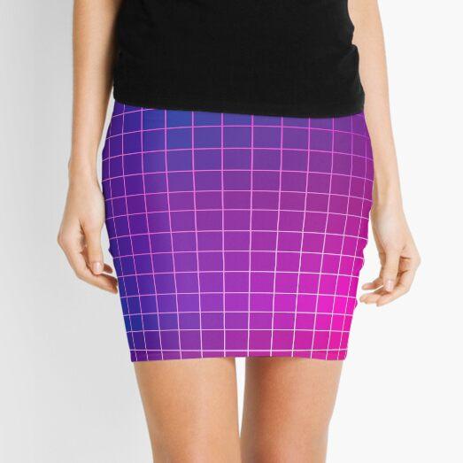 Pink Purple Blue Ombre Squares Mini Skirt