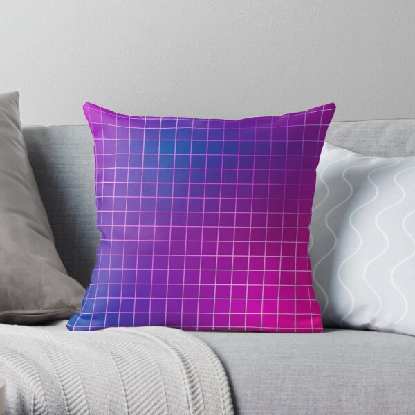 Pink Purple Blue Ombre Squares Throw Pillow