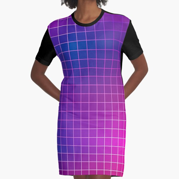 Pink Purple Blue Ombre Squares Graphic T-Shirt Dress