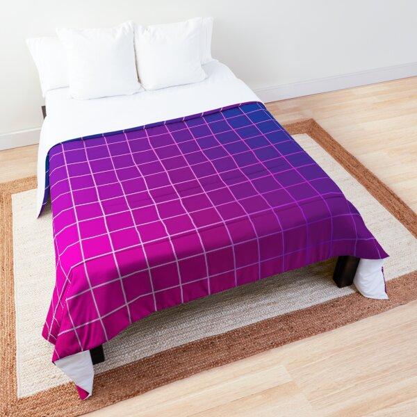 Pink Purple Blue Ombre Squares Comforter