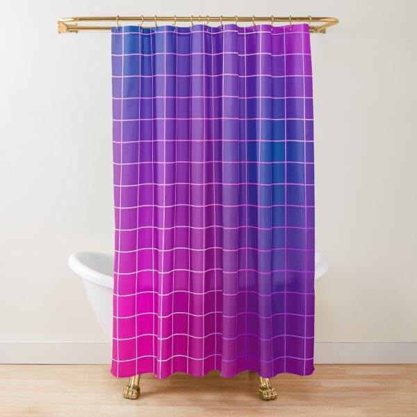 Pink Purple Blue Ombre Squares Shower Curtain