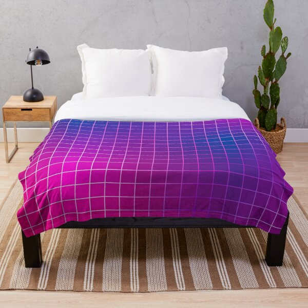 Pink Purple Blue Ombre Squares Throw Blanket