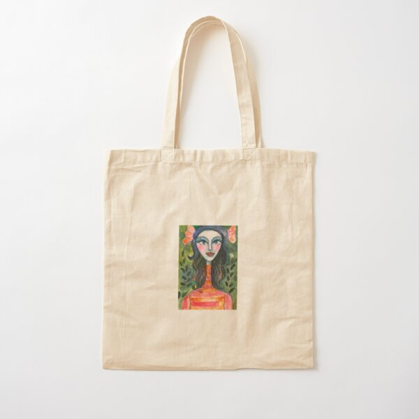 Turtleneck Girl Cotton Tote Bag