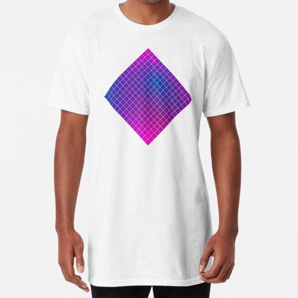 Pink Purple Blue Ombre Squares Long T-Shirt