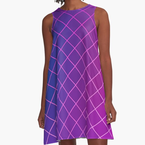 Pink Purple Blue Ombre Squares A-Line Dress