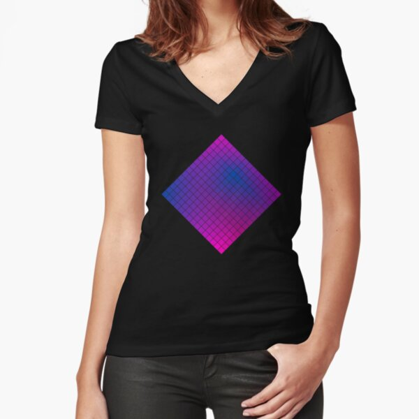 Pink Purple Blue Ombre Squares Fitted V-Neck T-Shirt