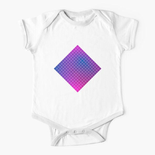 Pink Purple Blue Ombre Squares Short Sleeve Baby One-Piece