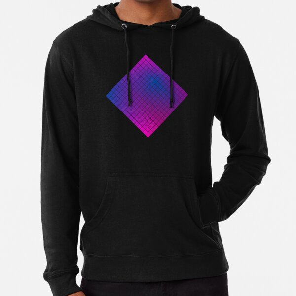 Pink Purple Blue Ombre Squares Lightweight Hoodie