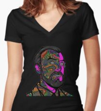 Psychedelic krieger Women's Fitted V-Neck T-Shirt