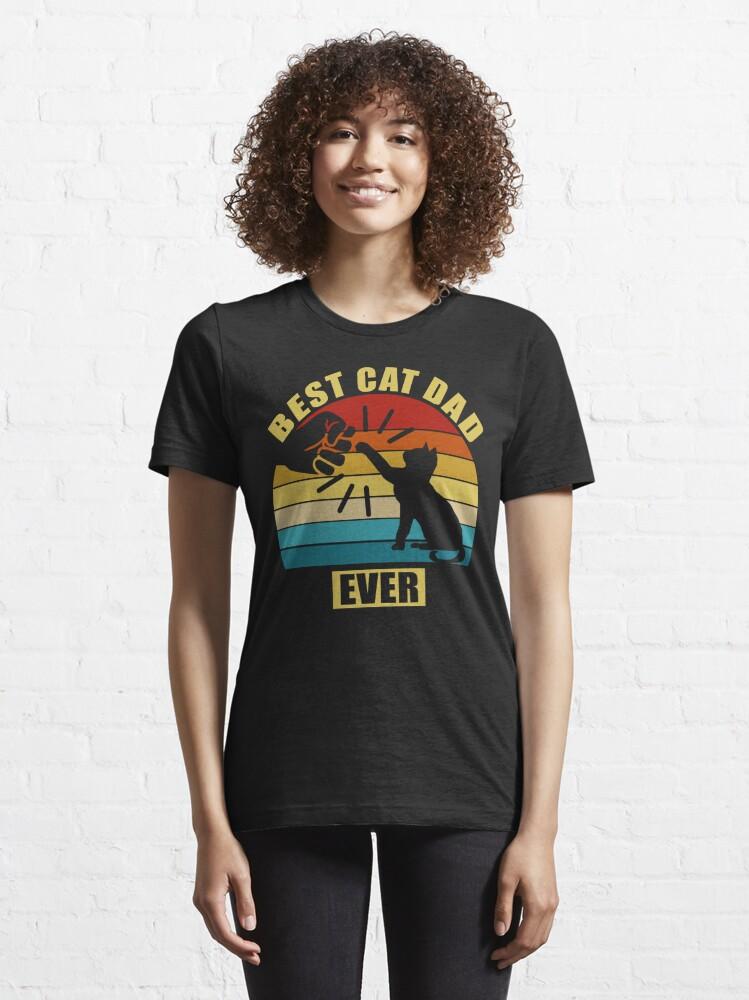 Alternate view of Vintage Best Cat Dad Ever Essential T-Shirt