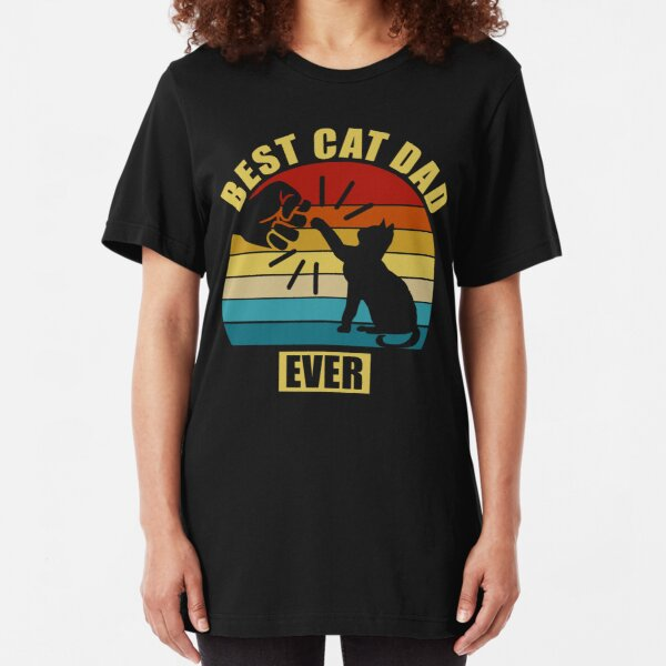 Vintage Best Cat Dad Ever Slim Fit T-Shirt