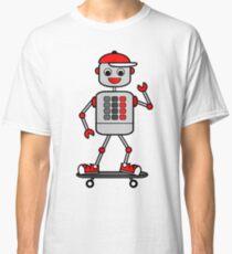 Cartoon Robot Boy on Skateboard Classic T-Shirt