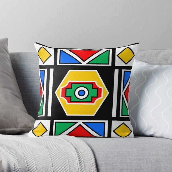 African Chic Geometry Traditional Art | Red Green Yellow Blue Print Throw Pillow