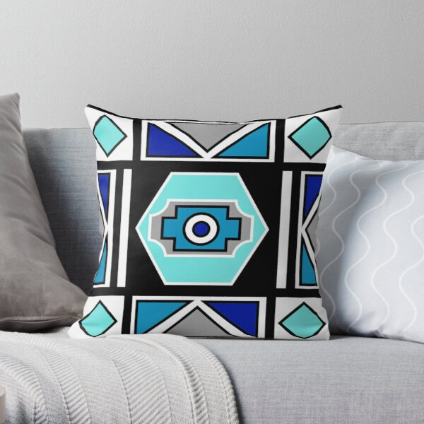 African Ndebele Geometry Sacred Art | Blue Grey White Print Throw Pillow