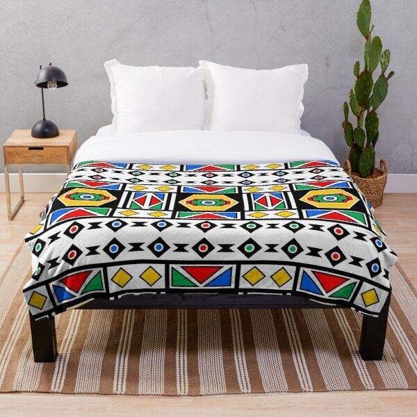 African Chic Geometry Traditional Art   Red Green Yellow Blue Pattern Throw Blanket