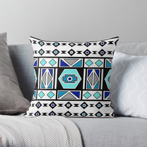 African Ndebele Geometry Sacred Art | Blue Gray White Pattern Throw Pillow