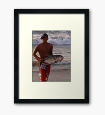 Another successful fisherman - proud and happy Framed Print