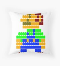 8-bit brick Luigi Throw Pillow