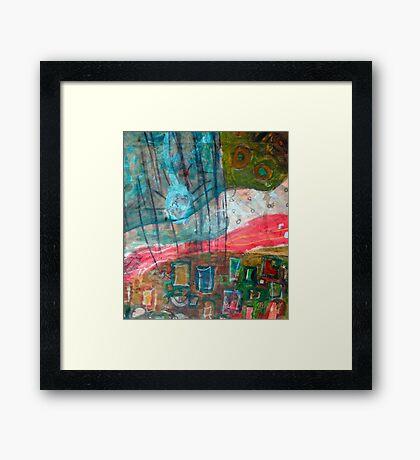 aqua red landscape Framed Print