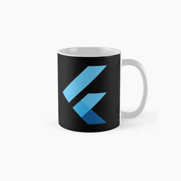 Minimalist Flutter Logo on Black Background Classic Mug