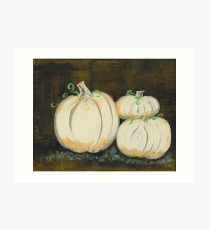 White Pumpkins II Art Print