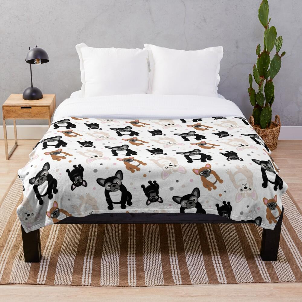 Cute Frenchies French Bulldog Pattern Throw Blanket