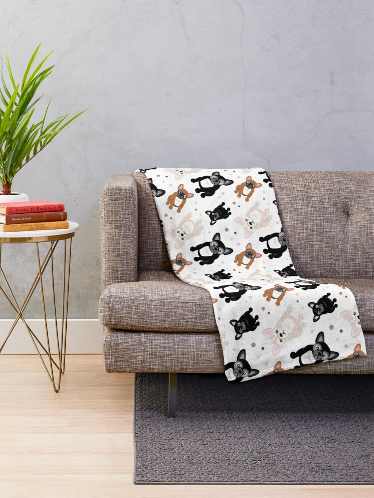 Alternate view of Cute Frenchies French Bulldog Pattern Throw Blanket