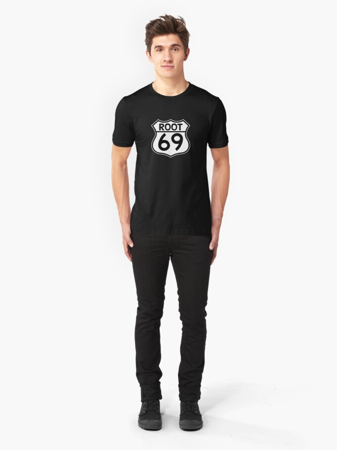 Alternate view of Aussies Get Their Kicks From... Root 69! Slim Fit T-Shirt