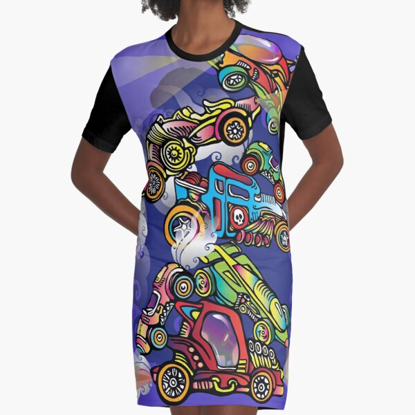 Toy Cars Graphic T-Shirt Dress