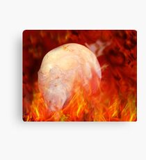 Flaming Crystal Skull Canvas Print