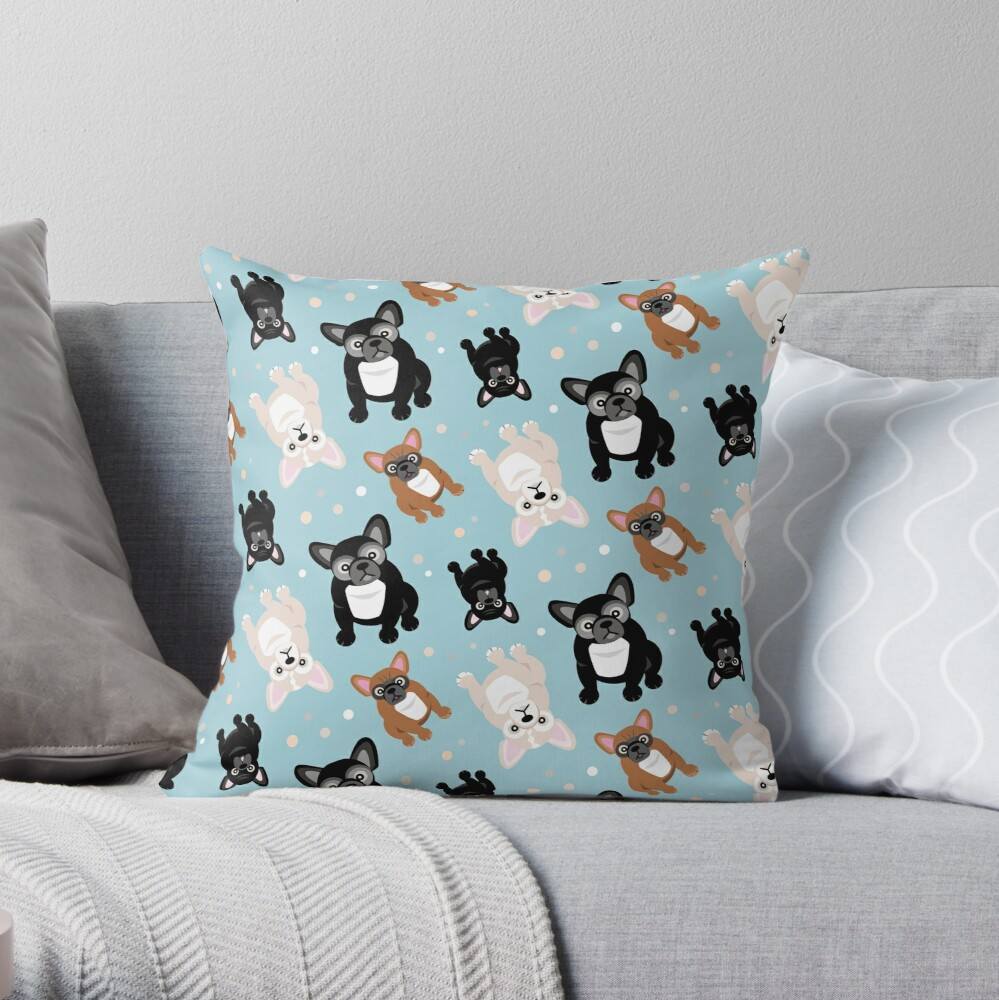 French Bulldogs Cute Frenchies Green Throw Pillow