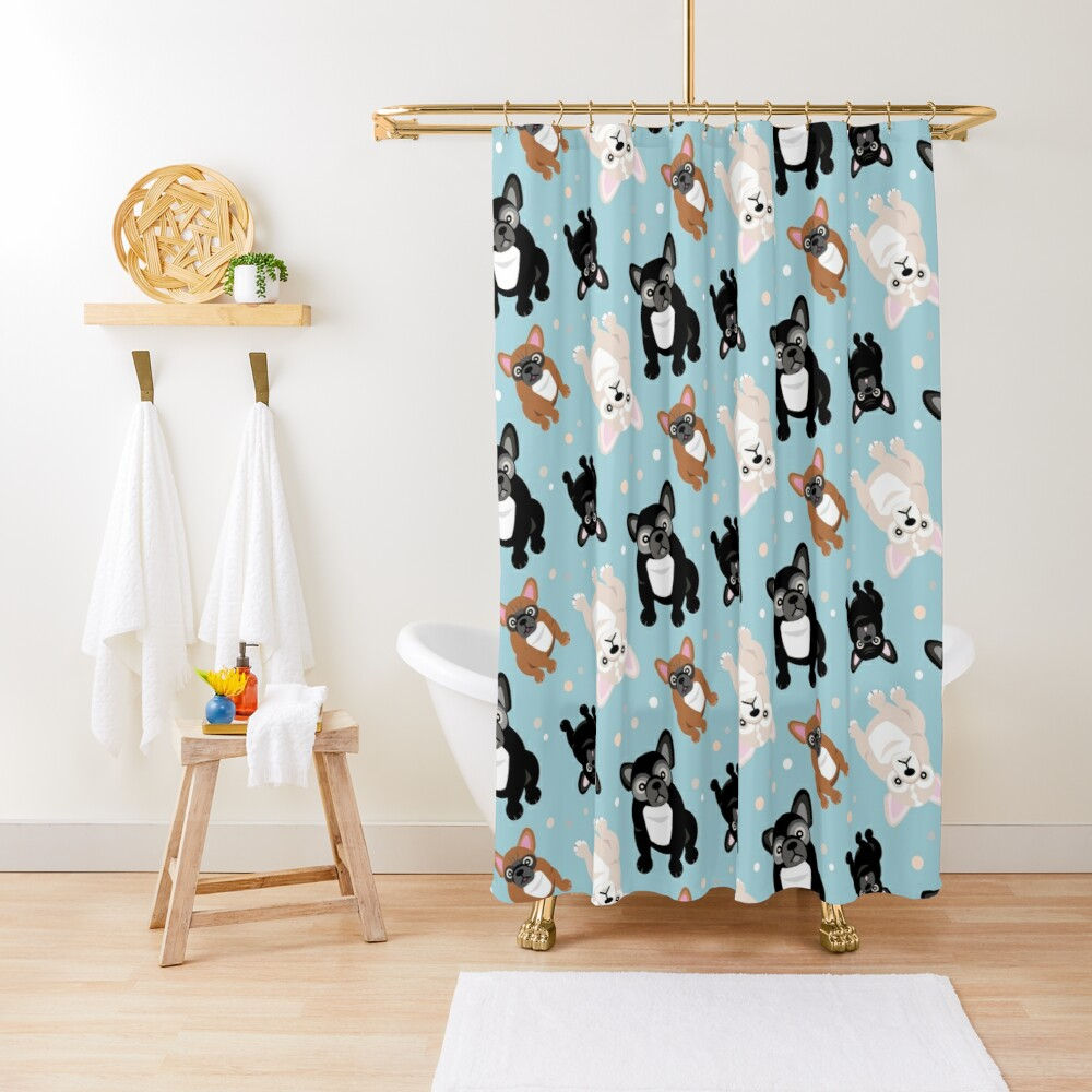 French Bulldogs Cute Frenchies Green Shower Curtain