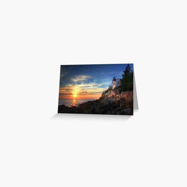 Sunset Glow - Bass Harbor Greeting Card