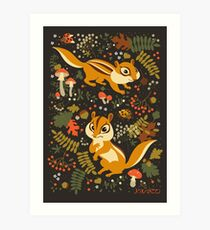 Two Cute Chipmunks in Autumn Background Art Print